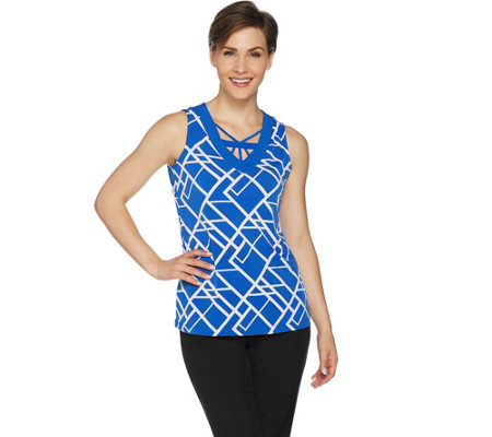 """As Is"" Susan Graver Printed Liquid Knit Tank with Lattice Detail"