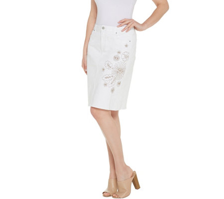 Susan Graver Stretch Slub Twill Embroidered Skirt - White