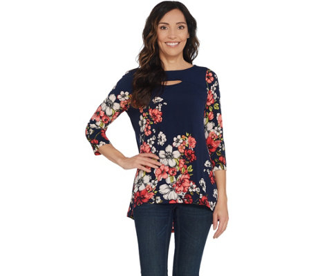 Susan Graver Printed Liquid Knit Hi-Low Hem Top w/ Cutout