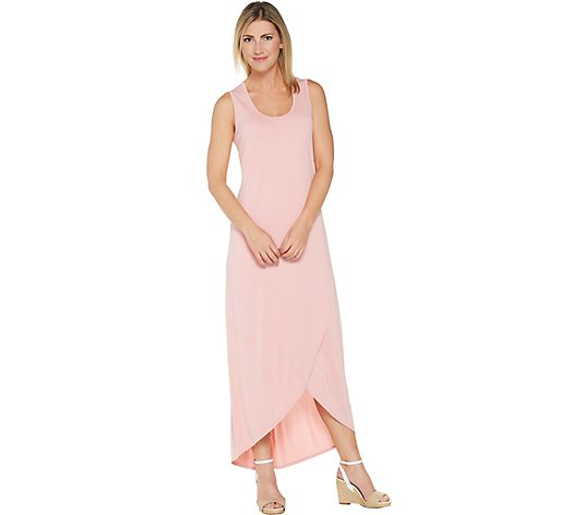 """As Is"" Lisa Rinna Collection Cross Hem Maxi Tank Dress"