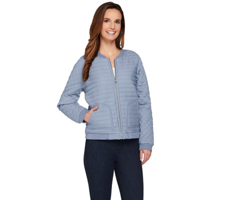 """As Is"" Lisa Rinna Collection Zip Front Bomber Jacket"
