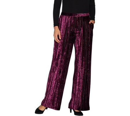 """As Is"" H by Halston Regular Crushed Velvet Wide Leg Knit Pants"
