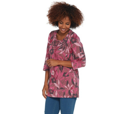 a679b891d63 Denim   Co. Active Printed French Terry Scoop-Neck 3 4- Sleeve Tunic ...