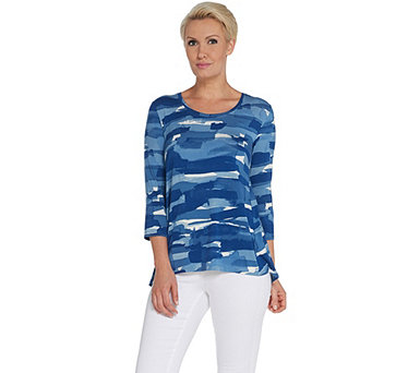H by Halston Printed Scoop Neck Top with Forward Seams - A310029