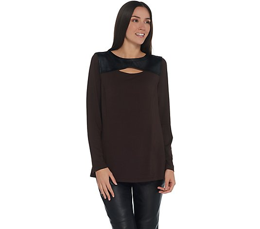 Belle by Kim Gravel Faux Leather Trim Cut Out Top
