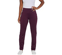 Denim & Co Active Regular Fleece Back Straight Leg Knit Pant - A342729