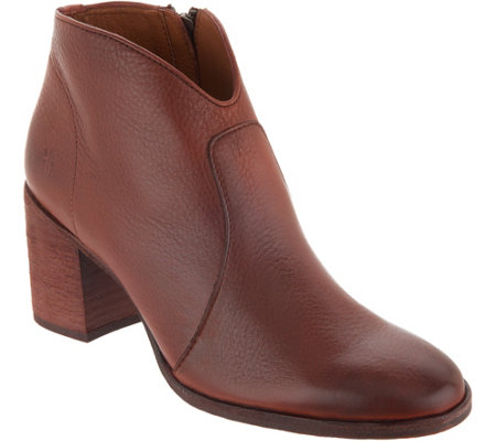 Frye Leather Ankle Boots Nora Zip Short