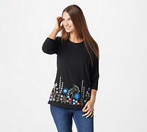 Denim & Co. Perfect Jersey Round-Neck Embroidered Top - A344229