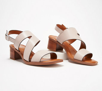 a78c6acd80c Franco Sarto Leather Heeled Sandals w  Asymmetrical Strap - Lilah - A350329