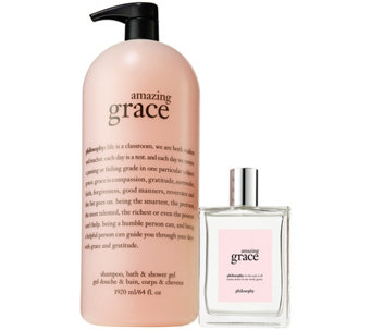 philosophy mega-size 64oz amazing grace shower gel & 6oz edt - A350529