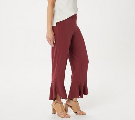 Susan Graver Regular Liquid Knit Tulip Hem Crop Pants