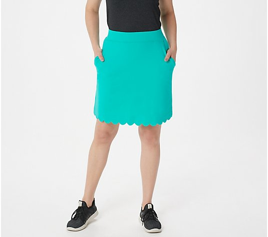 Denim & Co. Active Regular French Terry Skort w/ Scallop Hem