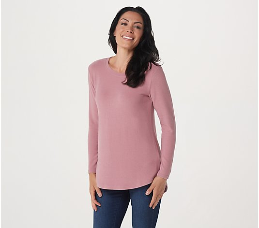 """As Is"" Lisa Rinna Collection Hacci Knit Curved Hem Top"