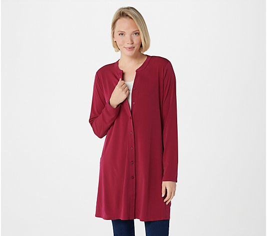 Every Day by Susan Graver Liquid Knit Button Front Duster