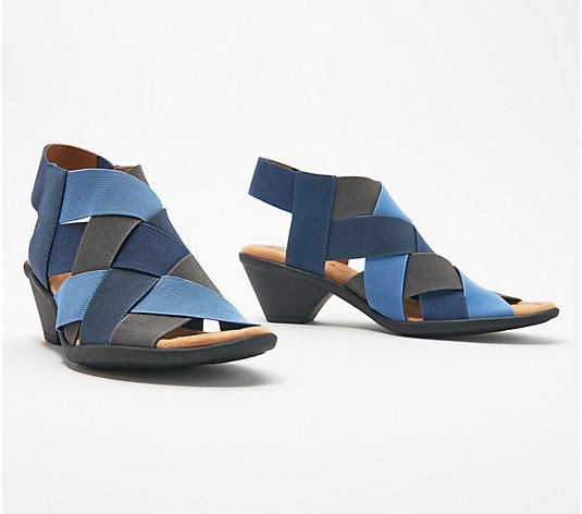 Comfortiva Block Heel Criss Cross Strap Sandals - Farrow