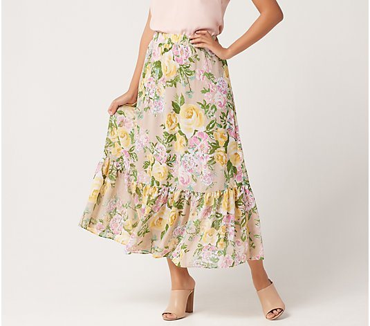 """As Is"" Susan Graver Regular Printed Chiffon Tiered Maxi Skirt"