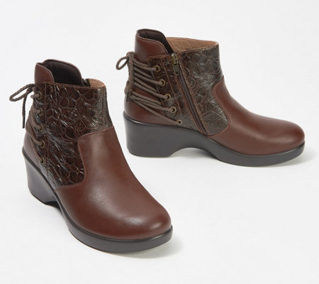 """As Is"" Alegria Embossed Leather Ankle Boots with Lacing- Stevee"
