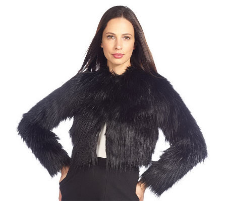 Isaac Mizrahi Live! Cropped Faux Fur Bolero with Pockets