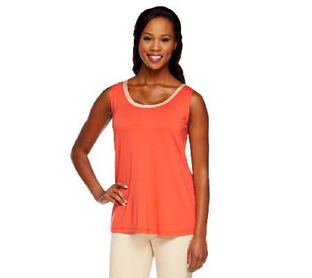 Susan Graver Rayon/Spandex Scoop Neck Tank Top with Contrast Trim