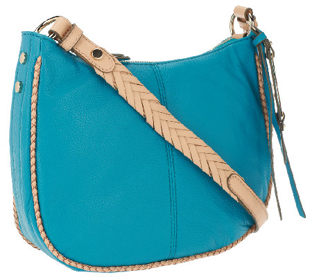 B.Makowsky Lola Pebble Leather Zip Top Crossbody Bag