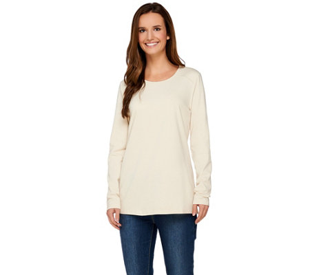 Denim & Co. Long Sleeve Jersey Knit Top with Quilting Detail