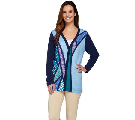 Bob Mackie's Button Front Printed Sweater Knit Cardigan