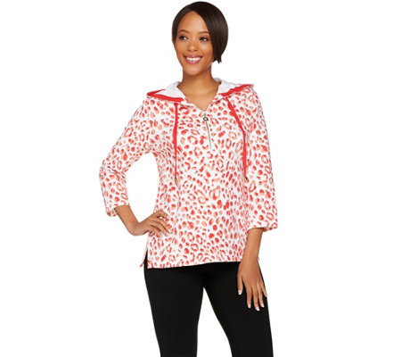 Susan Graver Weekend Printed French Terry Hooded Pullover