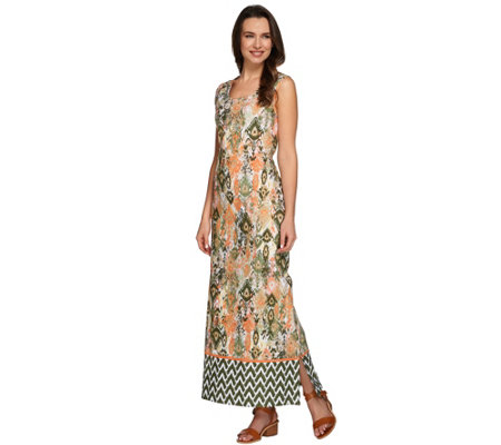 """As Is"" Denim & Co. Regular Tribal Border Printed Maxi Dress"