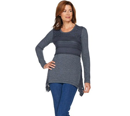 LOGO by Lori Goldstein Waffle and Rib Knit Top with Lace Godets