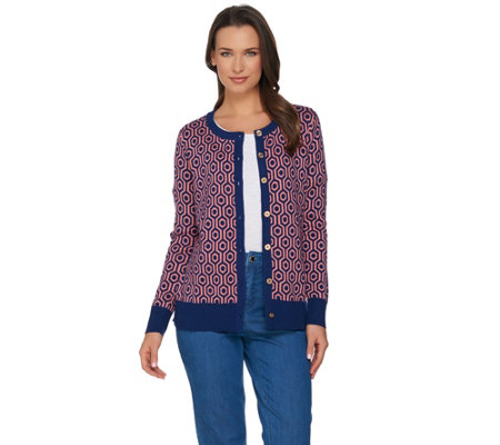 C. Wonder Lattice Jacquard Long Sleeve Cardigan