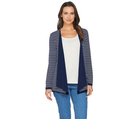 Susan Graver Reversible Liquid Knit Long Sleeve Cardigan