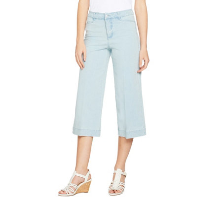 Isaac Mizrahi Live! 24/7 Denim Regular Cropped Wide Leg Jeans
