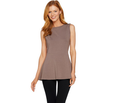 AnyBody Loungewear Cozy Knit Swing Peplum Sleeveless Top