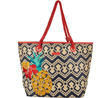 Vera Bradley Straw Beach Shopper