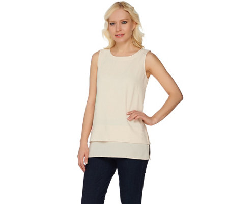 """As Is"" Linea by Louis Dell'Olio Crepe Gauze Tank w/ Chiffon Bottom"