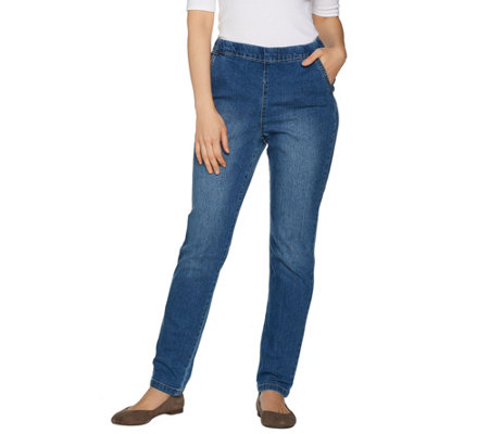 Denim & Co. Petite Denim Modern Pull-on Straight Leg Jeans