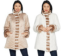 Dennis Basso Reversible Stand Collar Coat with Faux Fur Trim - A301430