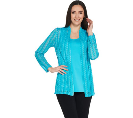 Susan Graver Crochet Cardigan and Knit Tank Set