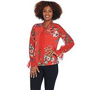Susan Graver Printed Liquid Knit Top w/ Chiffon Sleeves & Tie - A308230