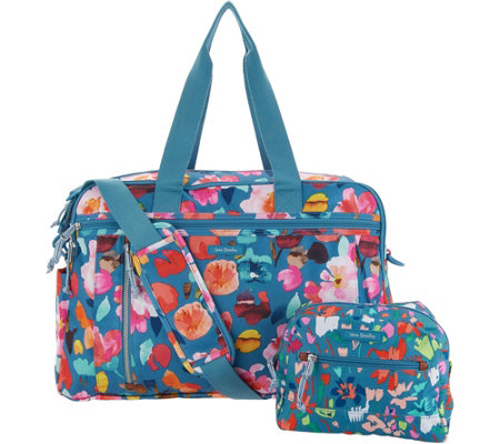 Vera Bradley Lighten Up Weekender Travel Bag W Cosmetic Case Qvc