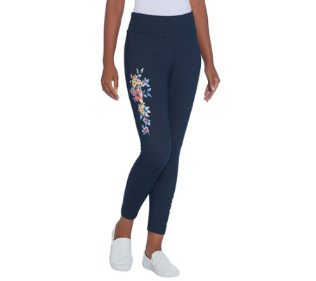 Denim & Co. Active Placed Floral Print Crop Knit Leggings