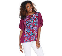 Bob Mackie's Painterly Floral Front Caftan Top - A310930