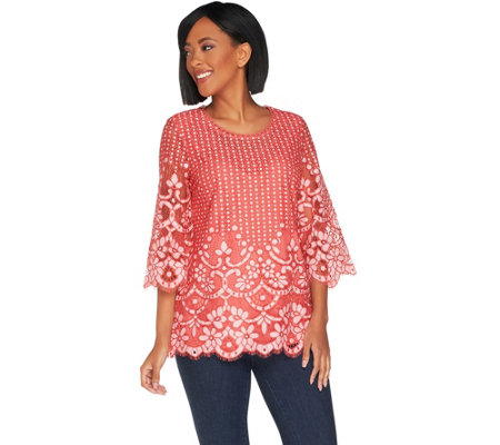 """As Is"" Isaac Mizrahi Live! 3/4 Sleeve Bi-Color Lace Tunic"