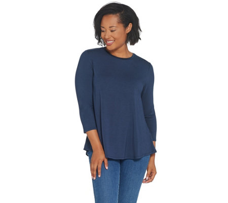 H by Halston Essentials Crew-Neck 3/4-Sleeve Top
