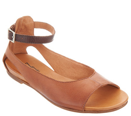 """As Is"" Miz Mooz Leather Peep-Toe Flats w/Ankle Strap- Angel"