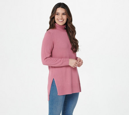 Joan Rivers Turtleneck Tunic With Hi Low Hem