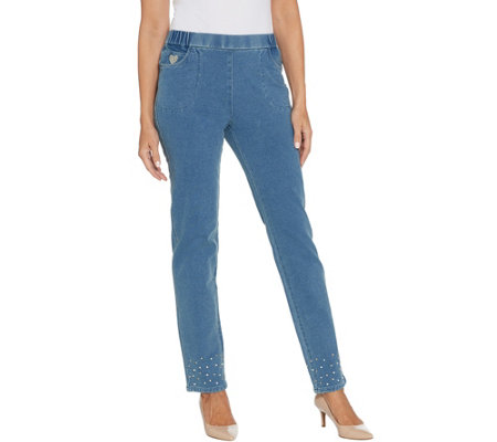 Quacker Factory Short DreamJeannes Pull-On Slim Leg Pants