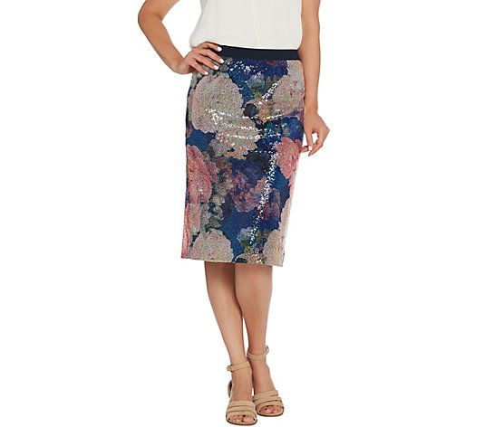 Isaac Mizrahi Live! Floral Printed and Sequin Pencil Skirt