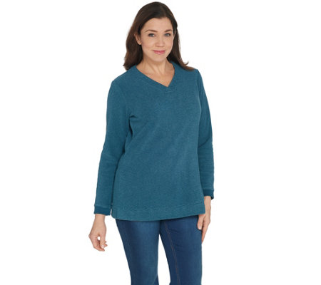 Denim & Co. Petite Chenille Fleece V-Neck Long-Sleeve Tunic