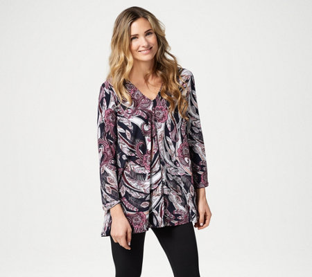 Attitudes by Renee Como Jersey Printed Top w/ Back Keyhole